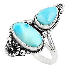 6.62cts solitaire natural blue larimar 925 silver flower ring size 8.5 t6426