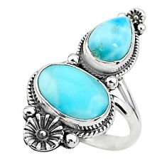 6.26cts solitaire natural blue larimar 925 silver flower ring size 5.5 t6427