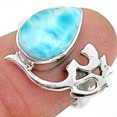 3.91cts solitaire natural blue larimar 925 silver om symbol ring size 6 t6353