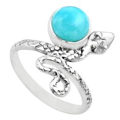 3.01cts solitaire natural blue larimar 925 silver snake ring size 8 t31934