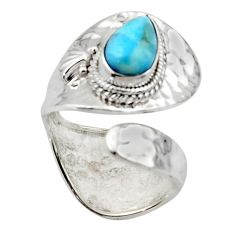2.44cts solitaire natural blue larimar 925 sterling silver ring size 8.5 r50123