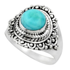 3.13cts solitaire natural blue larimar 925 sterling silver ring size 8.5 r50142