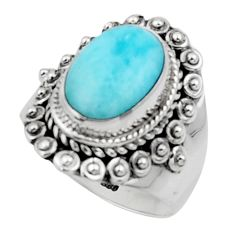 4.81cts solitaire natural blue larimar 925 sterling silver ring size 7.5 r50148