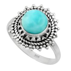 3.48cts solitaire natural blue larimar 925 sterling silver ring size 8.5 r50149