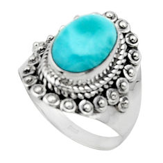 4.53cts solitaire natural blue larimar 925 sterling silver ring size 8.5 r50151