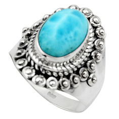 4.40cts solitaire natural blue larimar 925 sterling silver ring size 7.5 r50152