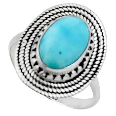 4.74cts solitaire natural blue larimar 925 sterling silver ring size 8.5 r50158