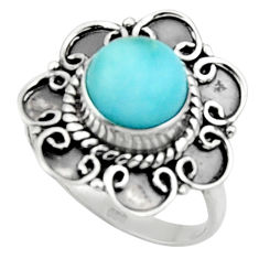 3.32cts solitaire natural blue larimar 925 sterling silver ring size 8.5 r50162