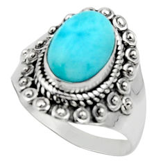 4.53cts solitaire natural blue larimar 925 sterling silver ring size 8.5 r50163