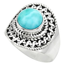 3.35cts solitaire natural blue larimar 925 sterling silver ring size 7.5 r50168