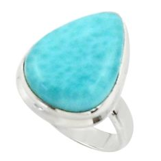 14.14cts solitaire natural blue larimar 925 sterling silver ring size 6.5 r50229