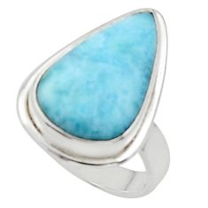 12.03cts solitaire natural blue larimar 925 sterling silver ring size 6.5 r50233