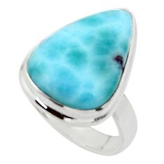 13.24cts solitaire natural blue larimar 925 sterling silver ring size 7.5 r50234