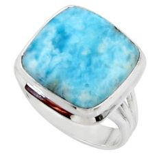 15.85cts solitaire natural blue larimar 925 sterling silver ring size 8.5 r50248