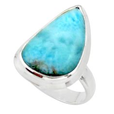 11.21cts solitaire natural blue larimar 925 sterling silver ring size 5.5 r50295