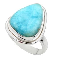 12.34cts solitaire natural blue larimar 925 sterling silver ring size 7.5 r50297