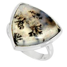 16.20cts solitaire natural white dendrite opal 925 sterling silver ring size 8.5 r50845