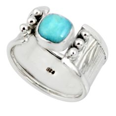 2.63cts solitaire natural blue larimar 925 sterling silver ring size 7.5 r50859