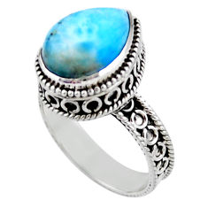 6.76cts solitaire natural blue larimar 925 sterling silver ring size 8.5 r51892