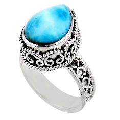 6.76cts solitaire natural blue larimar 925 sterling silver ring size 7.5 r51899