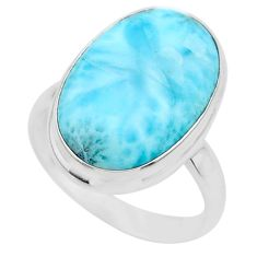14.88cts solitaire natural blue larimar 925 sterling silver ring size 10 t24596