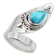 2.44cts solitaire natural blue larimar 925 sterling silver ring size 4 r50126