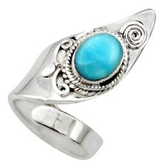 3.16cts solitaire natural blue larimar 925 sterling silver ring size 5 r50125
