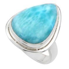 13.70cts solitaire natural blue larimar 925 sterling silver ring size 5 r50218