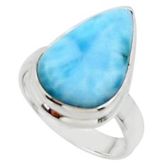 10.02cts solitaire natural blue larimar 925 sterling silver ring size 5 r50237