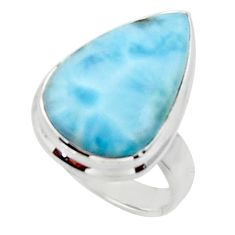 9.99cts solitaire natural blue larimar 925 sterling silver ring size 5 r50240