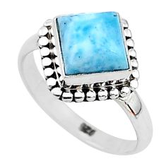 2.27cts solitaire natural blue larimar 925 sterling silver ring size 5 t11193