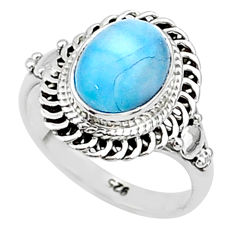 3.05cts solitaire natural blue larimar 925 sterling silver ring size 5 t4907