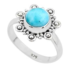 2.53cts solitaire natural blue larimar 925 sterling silver ring size 5 t4915
