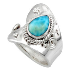 2.24cts solitaire natural blue larimar 925 sterling silver ring size 6 r50127