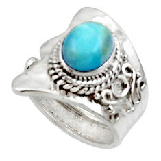 3.28cts solitaire natural blue larimar 925 sterling silver ring size 6 r50129