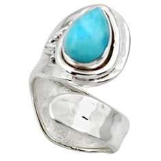 2.41cts solitaire natural blue larimar 925 sterling silver ring size 6 r50130