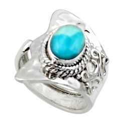 2.13cts solitaire natural blue larimar 925 sterling silver ring size 6 r50139