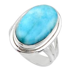 10.60cts solitaire natural blue larimar 925 sterling silver ring size 6 r50242