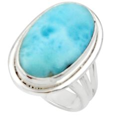 13.55cts solitaire natural blue larimar 925 sterling silver ring size 6 r50266