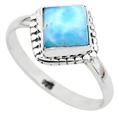 2.73cts solitaire natural blue larimar 925 sterling silver ring size 6 t11245