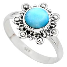 2.71cts solitaire natural blue larimar 925 sterling silver ring size 6 t11251
