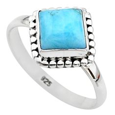 2.53cts solitaire natural blue larimar 925 sterling silver ring size 6 t11255
