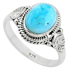 3.10cts solitaire natural blue larimar 925 sterling silver ring size 6 t11262