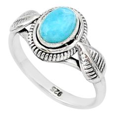 1.51cts solitaire natural blue larimar 925 sterling silver ring size 6 t1437