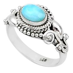 1.39cts solitaire natural blue larimar 925 sterling silver ring size 6 t1438