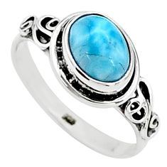 2.11cts solitaire natural blue larimar 925 sterling silver ring size 6 t15849
