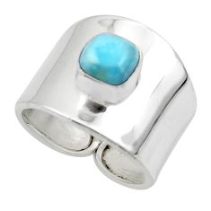 2.63cts solitaire natural blue larimar 925 sterling silver ring size 7 r49878
