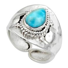 2.55cts solitaire natural blue larimar 925 sterling silver ring size 7 r50131