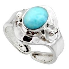 3.13cts solitaire natural blue larimar 925 sterling silver ring size 7 r50137