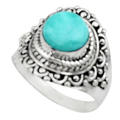 3.13cts solitaire natural blue larimar 925 sterling silver ring size 7 r50145